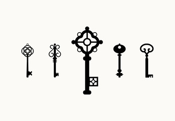 15 Antique Key Silhouette Icons