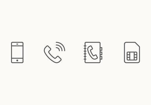 90 Minimalist Phone and Wireless Icons