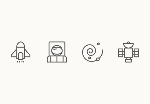 25 Minimalist Space Icons