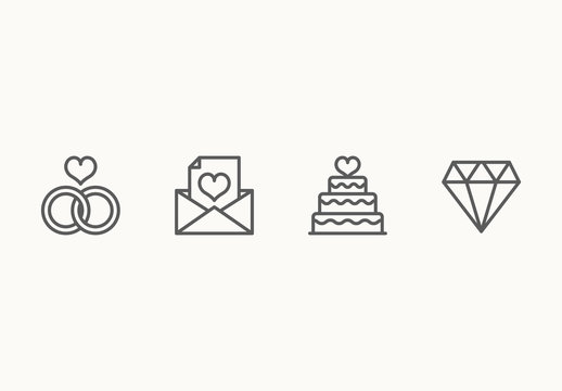 30 Minimalist Wedding Icons