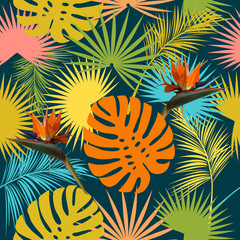 Leaves and flowers of palm tree seamless pattern