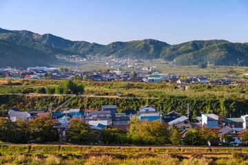 Yamanouchi village view in morning. Yudanaka, Nagano province, Japan.
