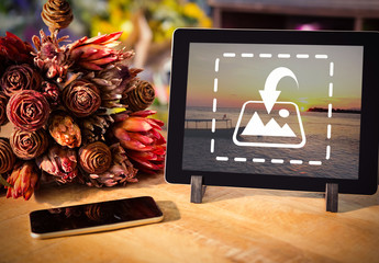 Tablet and Bouquet Mockup