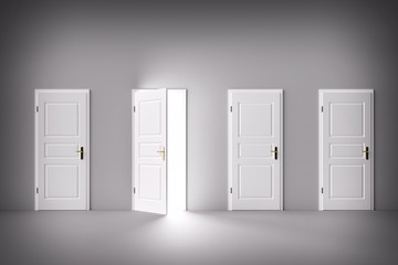 Door open to the light, new world, chance or opportunity.