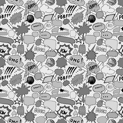 Seamless pattern background with handdrawn comic book speech bubbles, vector illustration
