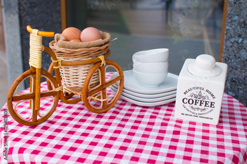 outdoor breakfast coffee and eggs bike on the table in. Black Bedroom Furniture Sets. Home Design Ideas