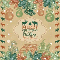 Vector Christmas greeting vintage card