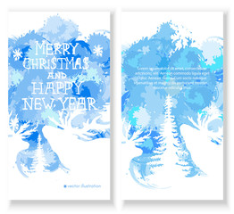 Merry Christmas Card. Set of brochure, poster templates