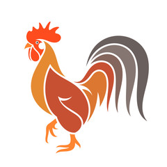Abstract  rooster. Colorful bird on white background