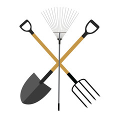 Garden Tools, Instruments Flat Icon Collection Set. Shovel, Rake