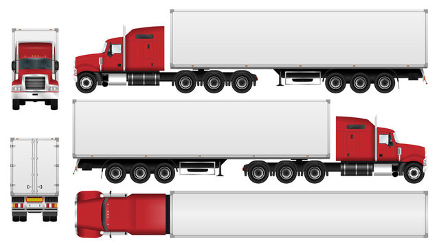 Big truck with trailer vector template. Semi truck isolated on white background. All elements in groups on separate layers. The ability to easily change the color
