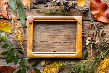 Composition of autumn leaves and branches with cones with a wooden frame and place for text