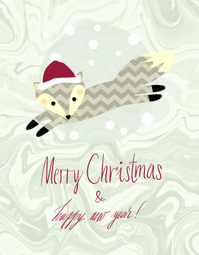 """Cute kids winter vector illustration. Running Fox with snowflakes dots on natural warm grey marble background. """"Merry Christmas and happy new year"""" lettering."""
