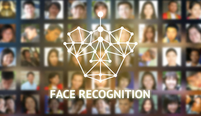 Machine learning systems and accurate facial recognition concept , Face recognition icon and texts with blur human faces background