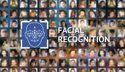 Machine learning systems and accurate facial recognition concept , smart phone with blue screen and facial text with human faces background