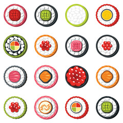 Set of type seafood roll, Japanese food sushi vector set