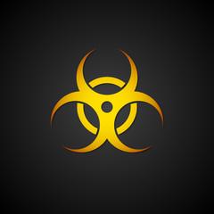 Orange biohazard symbol on black background. Danger of infection