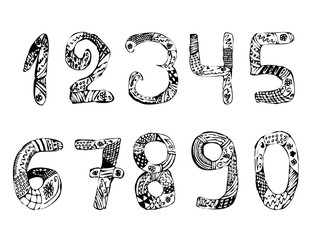 Set of numbers. Vintage. Doodle. Zentangle. Hand draw. Vector illustration on isolated background