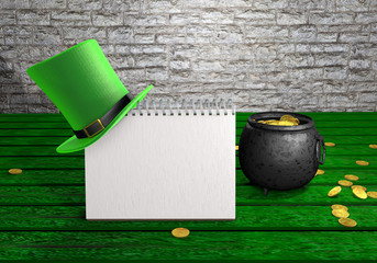 Happy St Patrick's Day leprechaun hat, pot of gold coins and notepad on green wood vintage background. 3d illustration