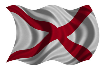 Flag of Alabama wavy on white, fabric texture