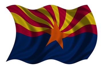 Flag of Arizona wavy on white, fabric texture
