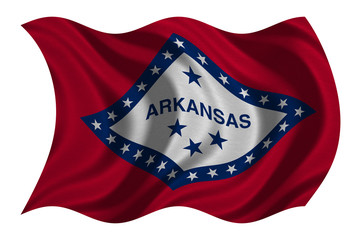 Flag of Arkansas wavy on white, fabric texture