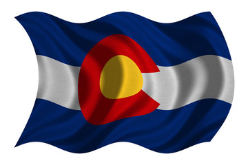 Flag of Colorado wavy on white, fabric texture