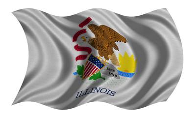 Flag of Illinois wavy on white, fabric texture
