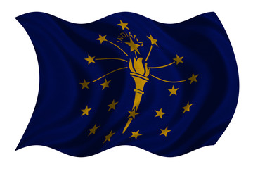 Flag of Indiana wavy on white, fabric texture