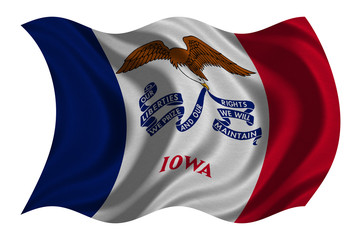 Flag of Iowa wavy on white, fabric texture