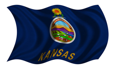 Flag of Kansas wavy on white, fabric texture