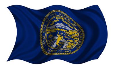 Flag of Nebraska wavy on white, fabric texture