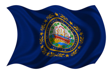 Flag of New Hampshire wavy on white fabric texture