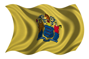 Flag of New Jersey wavy on white, fabric texture