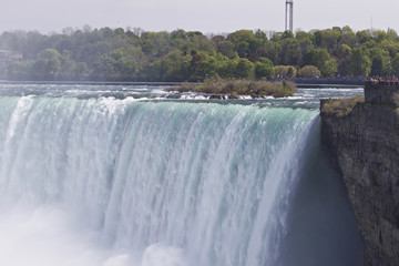 Beautiful isolated image with the amazing Niagara falls at Canadian side