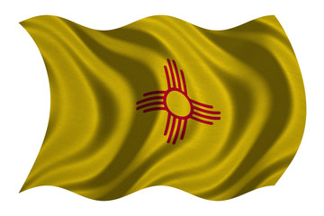 Flag of New Mexico wavy on white, fabric texture