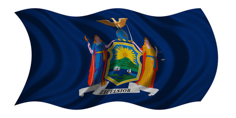Flag of New York state waving on white, textured