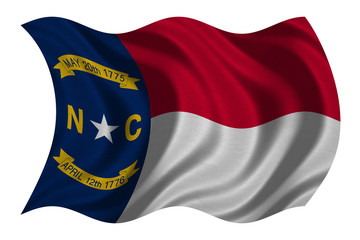 Flag of North Carolina waving on white, textured