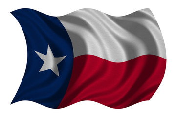 Flag of Texas wavy on white, fabric texture