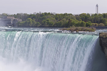 Beautiful isolated image with the amazing Niagara falls from Canadian side