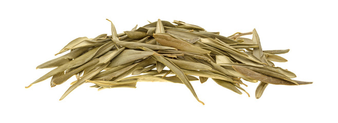 Dried olive leaves on a white background.