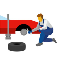 Mechanic with wrench repair red sport car. Specialist change tyres (or wheel) on auto. Flat style vector illustration isolated on white background.