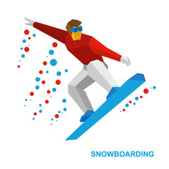 Winter sports - snowboarding. Cartoon snowboarder during a jump. Athlete on snowboard isolated on white background. Flat style vector clip art.