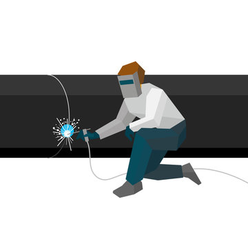 Welder in the mask connects metal pipes in pipeline. Flat style vector illustration isolated on white background.