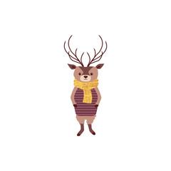 Cute cartoon deer, vector character, forest animal