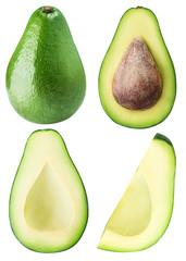set from avocado isolated on white backgraund