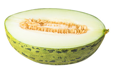 Sliced green melon isolated on white background