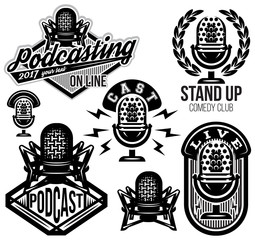 set of vector stylish retro pattern with microphones, radio, podcast, show