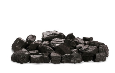 pile black coal isolated on white background