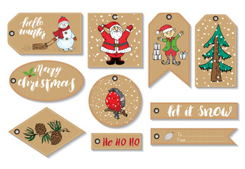 New Year and Christmas gift tags set. Hand drawn sketch greeting cards tamplate with doodles festive elements. Vector illustration.